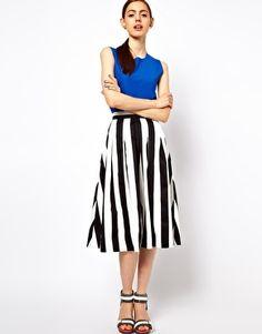 Black and White Trend ! #styleprediction  Enlarge ASOS Midi Skirt In Bold Stripe