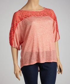 Take a look at this Coral Lace Cutout Dolman Top - Plus by Spin on #zulily today!  Love this color!