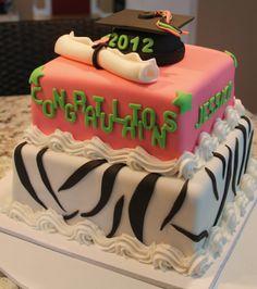 graduation+cakes | zebra print graduation cakel