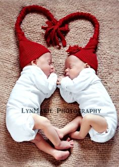 #Newborn #photography #twins ToniK ~•❤• Bébé •❤•~ birth announcement red knit stocking caps