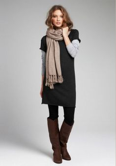 I think I can pull this off with my black knit dress & gray tshirt. I have so many scarves!! I also have gray or brown boots. rs:)