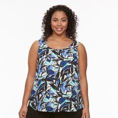 Plus Size Apt. 9® Georgette Scoopneck Tank, Women's, Size:
