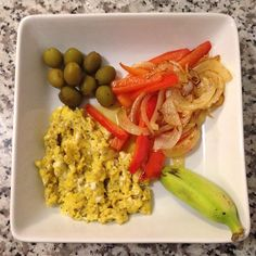 Free-range eggs • Ground black pepper • Red pepper • Fresh cured olives • Sweet onions • Plantain • Olive Oil