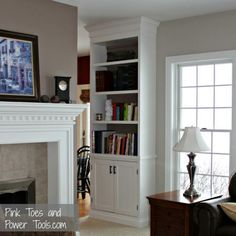 DIY built in cabinet and bookshelf (Great DIY info on Ana White Blog!)