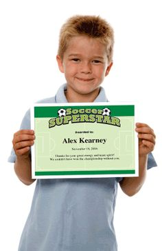 Soccer award certificate templates for your players, coaches and team parents. Just pick, personalize, print and present. Super easy and the finished product looks fantastic. Nice enough to frame, inexpensive enough to print hundreds. Soccer Coaching, Soccer Training, Team Player, Soccer Players, Certificate Templates, Award Certificates, Motivational Soccer Quotes, Soccer Practice Plans, Award Template