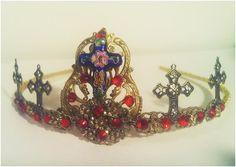 Byzantine Bridal Crown Gold Headpiece Divine Orante Royal Tiara Vintage Wedding Style
