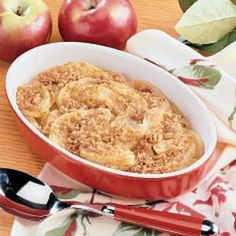 Had a couple apples that needed eating, so I found this apple crisp recipe for 2!  Doubled everything except the butter; only used 3 Tbls.  And took if out 5 minutes early.  The apples were perfectly cooked!