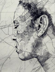 Mapped Face // Ed Fairburn on Graphic Mixed Media. Ed Fairburn has recently produced new works that live in a magical place between sculpture and drawings. Art Inspo, Kunst Inspo, Inspiration Art, Ed Fairburn, Art And Illustration, L'art Du Portrait, Portraits, Arte Hip Hop, Art Du Monde