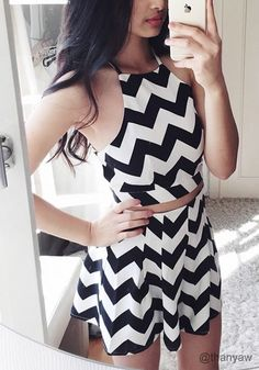 Chevron Two-Piece Short Set