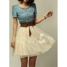 Elegant Scoop Neck Short Sleeve Denim Splicing Chiffon Dress With Belt For Women