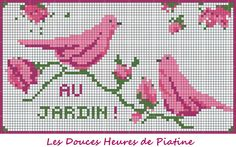 Grille oiseaux roses