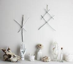 Othala & Algiz . set of two pagan viking wall-hanging, twigs rune with wool witchcraft magical decoration .