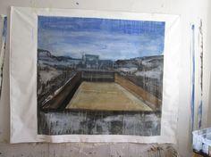 Piscine IV, 150x150cm, acrylique sur toile.