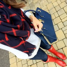 IG @mrscasual <click through to shop this look> plaid scarf. Jcrew gray sequin trim sweatshirt. Banana republic skinny denim leggings. Military red glossy hunter boots. Navy blue charming Charlie's bag.