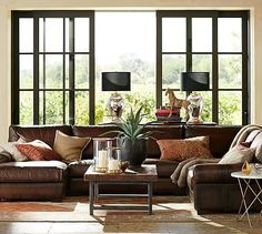 Turner Roll Arm Leather 4 Piece Chaise Sectional #potterybarn