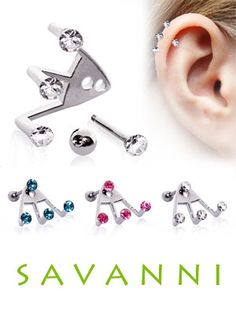 Cartilage Barbell Trident Triple Piercing