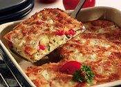 Savory Roasted-Vegetable Strata - 320 cal before altering w soy milk, wheat flour, etc.