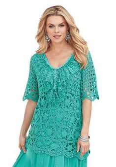 """""""Riviera"""" Crochet Sweater from Denim 24/7   Plus Size Just Marked Down!   Roamans"""