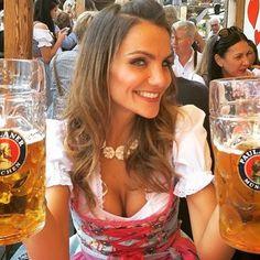 Image may contain: 3 people, drink Oktoberfest Outfit, Octoberfest Girls, Drindl Dress, Beer Girl, German Women, German Beer, Beer Festival, Root Beer, Belle