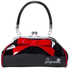 "SOURPUSS FLOOZY PURSE BLK/RED Add a pop of color to any outfit with our Black and Red Floozy purse! This vintage-inspired, vinyl purse features a 7"" vinyl bow across the one side, kiss-lock closure, ""Sourpuss"" hardware, sturdy handles, circular metal feet & black satin lining. $44.00 #sourpuss #sourpussclothing #purse #floozy #retro #vintage #pinup #pinupstyle"