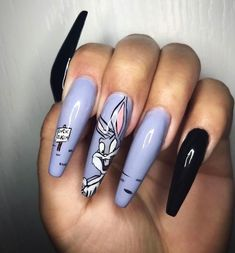 Purple Nails With Print Rabbit