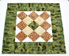 Quilted Table Topper Green Brown Batik Candle Mat Fall