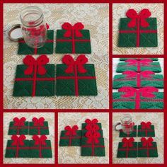 Free Plastic Canvas Coaster Patterns | Set of 4 Plastic canvas Present with bow coaster by ~bedtymegal on ...