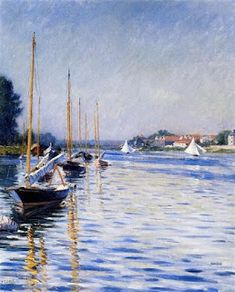 Learn more about Boats on the Seine at Argenteuil 2 Gustave Caillebotte - oil artwork, painted by one of the most celebrated masters in the history of art. Camille Pissarro, Paul Cezanne, Manet, Renoir, Famous Words, Art Database, Expositions, Sailing Ships, Oil On Canvas