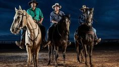 SAWeekend Magazine: Leading hand Jamie Kunze with stockmen Jake Coulthard and Cooper Bales during mustering at Macumba Station, Oodnadatta. Picture: Matt Turner, The Advertiser. #Australia #outback #horse #SA #SouthAustralia #farm