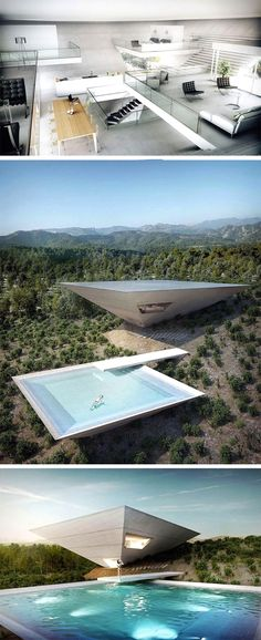Crazy on the outside, yet classy on the inside, the Solo House project by TNA Architects for Matarrana, Spain. The inverted pyramid shaped house one of 12 such projects by French Developer Christian Bourdais who aims at capturing where the cutting edge of Modern Landscape Design, Landscape Architecture Design, Futuristic Architecture, Modern Landscaping, Amazing Architecture, Modern House Design, Interior Architecture, Landscape Structure, Landscape Edging