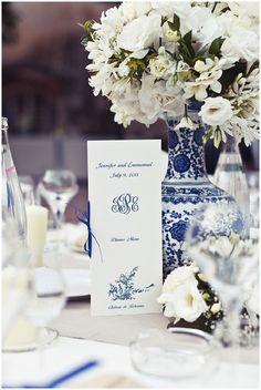 Blue white wedding tabletop.