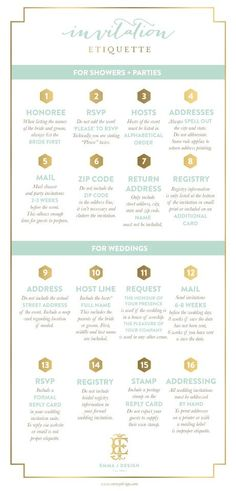 Over the years, I have assisted party hostesses, brides and wedding planners with invitation etiquette and wording. In order to spread the word about invitation etiquette, I have created this handy… Before Wedding, Wedding Tips, Wedding Events, Our Wedding, Dream Wedding, Weddings, Wedding Blog, Wedding Photos, Wedding Timeline