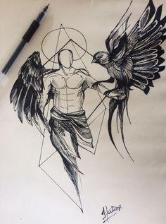 Dream Tattoos, Badass Tattoos, Mini Tattoos, Black Tattoos, Tattoos For Guys, Archangel Tattoo, Ma Tattoo, Tattoo Arm Designs, Forarm Tattoos