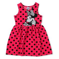 Minnie Mouse Toddler Girls' Polka Dots Sleeveless Dress - Pink