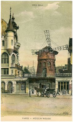 Vintage Moulin Rouge Paris | Download, Red Mill, Moulin Rouge, Dance Hall, Montmartre, Paris ...