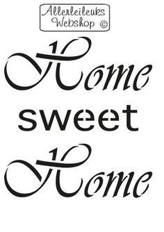 Kunststof groot sjabloon tekst Home Sweet Home 19cm