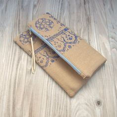 Fold Over Bag Hand Printed Bag Linen Purse Clutch by GypsyIntent, $45.00
