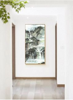 Feng shui painting, tearoom, meeting room, brush painting, mountains painting, water and ink, office wall decor, spring mountain, Chinese present, Chinese gift, housewarming, Shan shui painting, horse in Shan shui