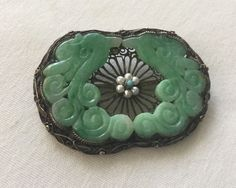 Antique Chinese Carved Double Dragon Apple Green Jade Silver Pierced Brooch 13 G | eBay