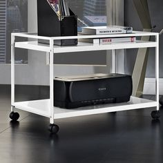 Marshall Coffee Table Cart Finish: White by Wayfair