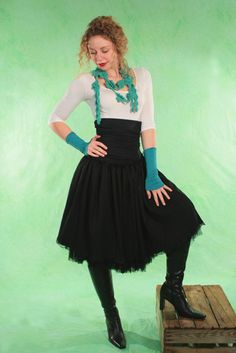 Romantic high waisted skirt black Size S and M - basia-kollek - High Waisted Skirts