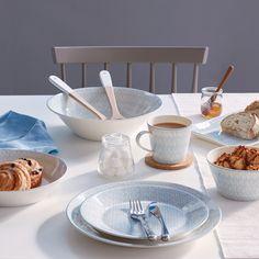 Royal Doulton Pastels herringbone blue tableware is subtle yet eye-catching.
