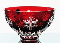 "Waterford Ruby Red Cut to Clear Snow Crystals Bowl 6"" New/Box Retired 