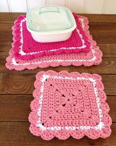 Can't get enough of this crochet hot pad set!