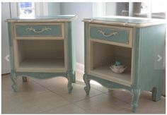 SOLD/French Provincial Side Tables by LeonasFrontPorch on Etsy Decoupage Furniture, Home Decor Furniture, Shabby Chic Furniture, Furniture Makeover, Painted Furniture, Painted Dressers, Refinished Furniture, Side Table Redo, End Table Makeover