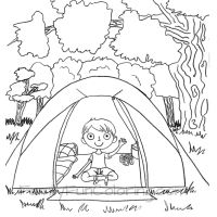 Sit By The Warmth Of Roaring Campfire With Camping Coloring Pages