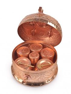 Copper Nakshi Paan-Daan - Medium Source by suneethapodila Copper Pots, Copper Kitchen, Copper And Brass, Antique Decor, Antique Brass, Copper Utensils, Copper Accents, Keep Jewelry, Silver Jewelry