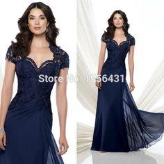 Vestido Longo De Renda manga corta azul real del cordón elegante Vestido De noche largo 2015 vestidos De noche formales