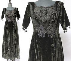 vtg 1900 Black EDWARDIAN Velvet FRINGE Dress GOWN