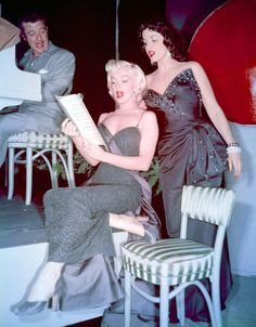 """Marilyn Monroe and Jane Russell read and sing on the set of Gentlemen Prefer Blondes (1953). Accompanied by Gilbert Roland at the piano. Lorelei and Dorothy are just """"Two Little Girls from Little Rock,"""" lounge singers on a transatlantic cruise, working their way to Paris, and enjoying the company of any eligible men they might meet along the way, even though """"Diamonds are a Girl's Best Friend."""""""